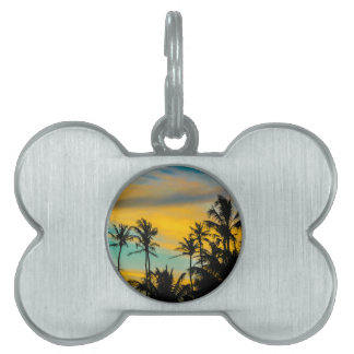 Tropical Scene at Sunset Time Pet Name Tag