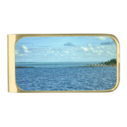 Tropical Scene Gold Finish Money Clip