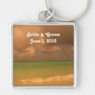 Tropical Sea Bride & Groom Keychain