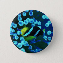 Tropical Sea Fish In Glowing Coral Button