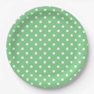 Tropical Sea Green and White Polka Dot Paper Plate