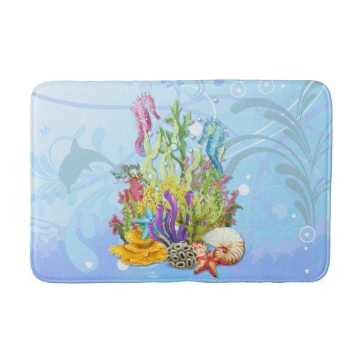 Tropical Sea Life Blue Bath Mat Zazzle