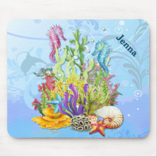 Tropical Sea Life Blue Mouse Pad