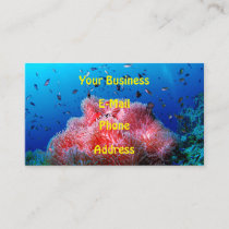 Tropical Sea Life Pink Glowing Anemone Coral Business Card