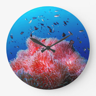 Tropical Sea Life Pink Glowing Anemone Coral Large Clock