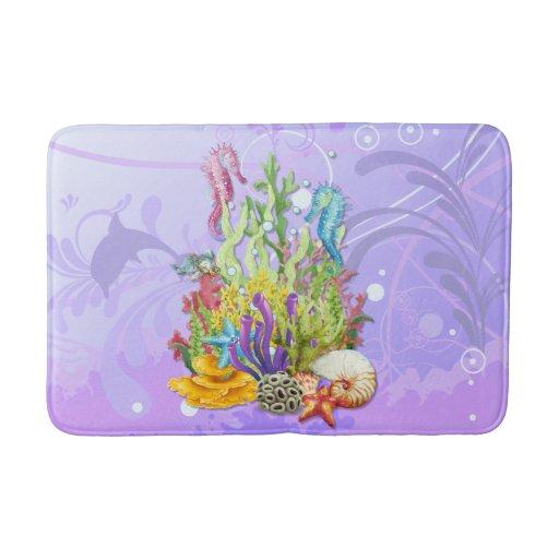Tropical Sea Life Purple Bathroom Mat Zazzle