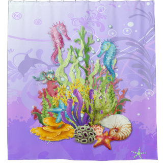 Tropical Sea Life Purple Shower Curtain
