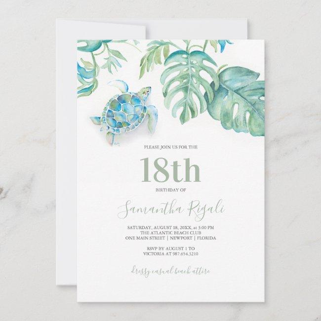 Tropical Sea Turtle Watercolor Birthday Invitation