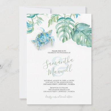 Tropical Sea Turtle Watercolor Wedding Invitation