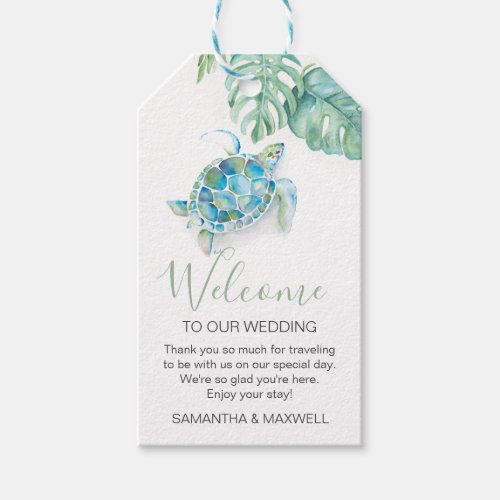Tropical Sea Turtle Welcome Gift Tags