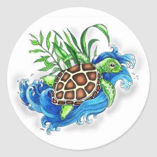Tropical Sea Turtles Classic Round Sticker