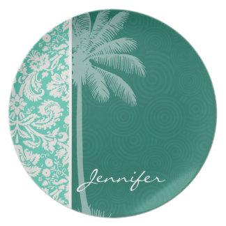 Tropical Seafoam Green Damask Dinner Plates