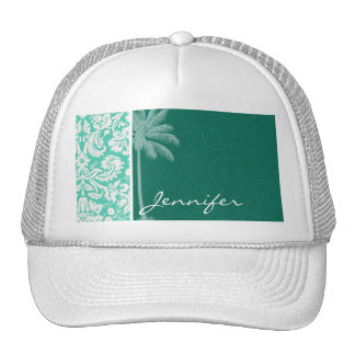 Tropical Seafoam Green Damask Trucker Hat
