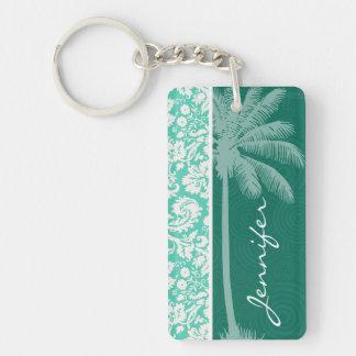 Tropical Seafoam Green Damask Keychain