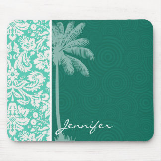 Tropical Seafoam Green Damask Mouse Pad