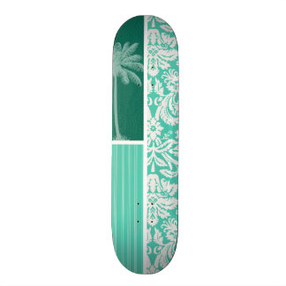 Tropical Seafoam Green Damask Skateboard Deck