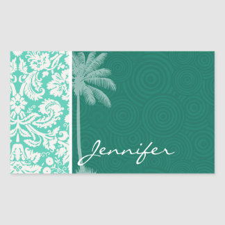 Tropical Seafoam Green Damask Rectangular Sticker