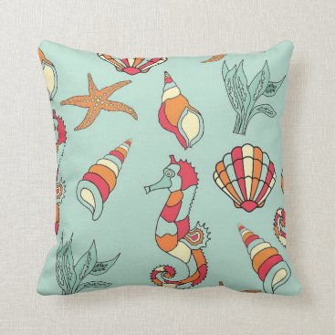 Beach Themed Tropical Seahorse and Sea Creatures Pillow