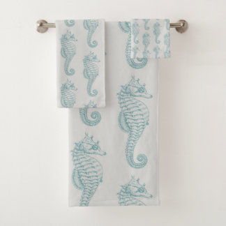 Tropical Seahorses (Seahorse Pattern) - Blue Gray Bath Towel Set