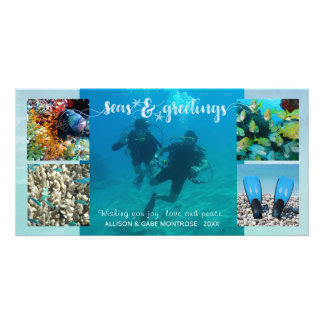 "Tropical ""Seas AND Greetings"" Five Photo Collage Card"