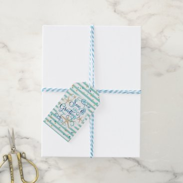 Tropical Seas AND Greetings, Teal/Brown Stripes Gift Tags