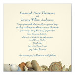"Tropical Seashell Border Wedding Invitations 5.25"" Square Invitation Card"