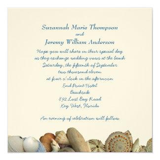 Tropical Seashell Border Wedding Invitations