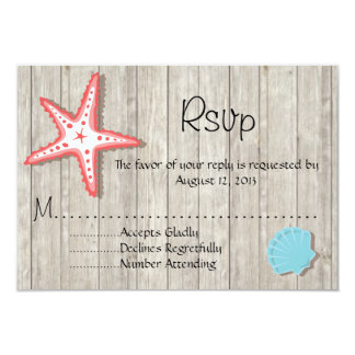 Tropical Seashell Wedding RSVP cards