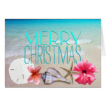 Tropical Seashells and Flowers Message Christmas Greeting Card