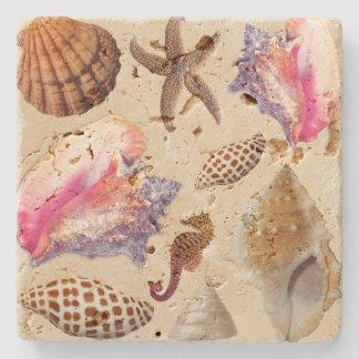 Tropical Seashells Conch Starfish Stone Coaster