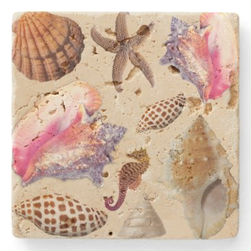 Beach Themed Tropical Seashells Conch Starfish Stone Coaster