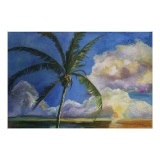 Tropical Seaside Sunset Poster
