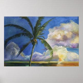 Tropical Seaside Sunset Poster