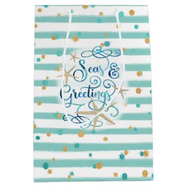 Beach Themed Tropical SEAson's Greetings, Aqua Stripes & Dots Medium Gift Bag