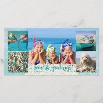 "Tropical ""SEAson's Greetings"" Brush Script, 5 Pics Holiday Card"