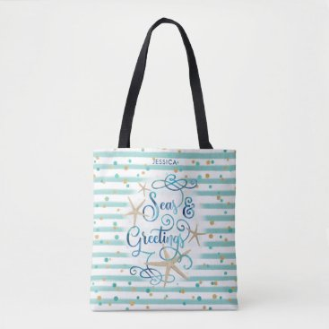 "Beach Themed Tropical ""SEAson's Greetings"" Teal Stripes & Dots Tote Bag"
