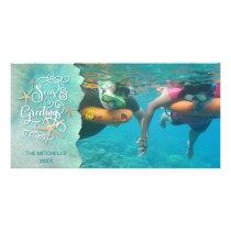 """Tropical """"SEAson's Greetings"""" Watercolor Card"""