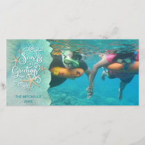 "Tropical ""SEAson's Greetings"" Watercolor Holiday Card"