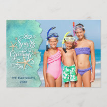 "Tropical ""SEAson's Greetings"" Watercolor Ocean Holiday Card"