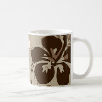 flourish, design, brown, tropical, mug, mugs, hibiscus, flower, flowers, floral, nature, art, gift, gifts, Mug with custom graphic design