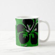 flourish, design, green, tropical, mug, mugs, hibiscus, flower, flowers, floral, art, nature, gift, gifts, Mug with custom graphic design