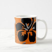 flourish, design, orange, tropical, mug, mugs, hibiscus, flower, flowers, floral, nature, art, gift, gifts, Mug with custom graphic design