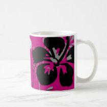 flourish, design, pink, tropical, mug, mugs, hibiscus, flower, flowers, floral, art, gift, gifts, Mug with custom graphic design