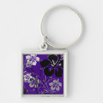 flourish, design, purple, tropical, magnet, hibiscus, flower, flowers, floral, art, nature, gift, gifts, Keychain with custom graphic design