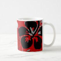 flourish, design, red, tropical, mug, mugs, hibiscus, flower, flowers, floral, art, nature, gift, gifts, Mug with custom graphic design