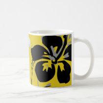 flourish, design, yellow, tropical, mug, mugs, hibiscus, flower, flowers, floral, nature, art, gift, gifts, Mug with custom graphic design