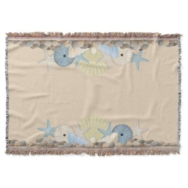 Beach Themed Tropical Shells, Urchins and Starfish Throw