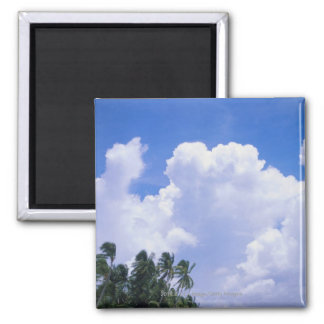 Tropical shoreline 2 inch square magnet
