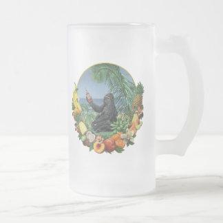 Tropical Slam! Ape in the tropics Original Artwork Frosted Glass Beer Mug