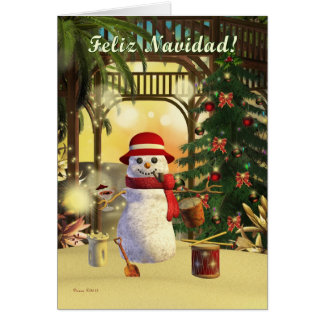 Tropical Snowman Feliz Navidad Holiday Card